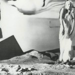 Actress Ingrid Bergman in the film 'Spellbound' in front of a scene created by Dali